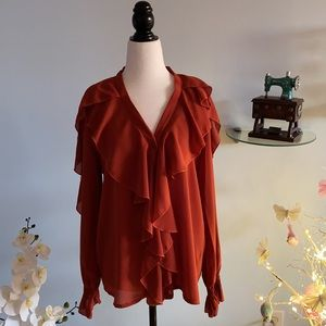 Silky floral top mad in Italy, free size